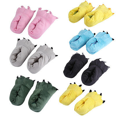 Animals Claw Paw Shape Plush Slippers Warm Floor Sleepwear Cartoon Shoes XRAU