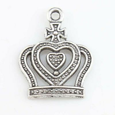 200x 143494 Wholesale Vintage Silvery Heart Crown Charms Alloy Pendants Lots