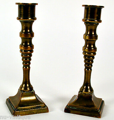 Pair of Vintage Miniature Solid Brass Candlesticks Candle Stick Holders (414C)