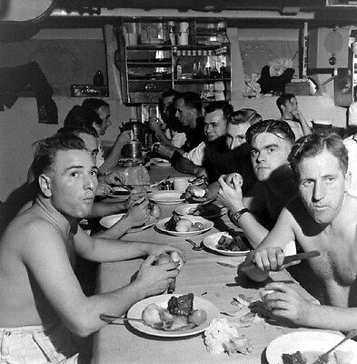 WW2 Photo WWII British HMS Formidable Aircraft Carrier Sailors Eating Chow /7124