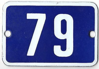 Cute old blue French house number 79 door gate plate plaque enamel steel sign