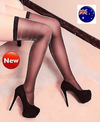 Women Sexy Black High Thigh Over Knees SHINE Pantyhose Glitter Tights Stocking