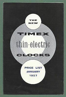 1957 Timex Thin Electric Clocks Leaflet - Price List & Retail Order Form