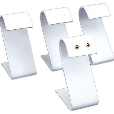 """4 White Faux Leather Earring Display Stands 3.25"""""""
