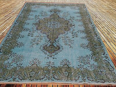 "9'11""x6'3""  Vintage pastel light aqua turquoise light blue  overdyed rug carpet"