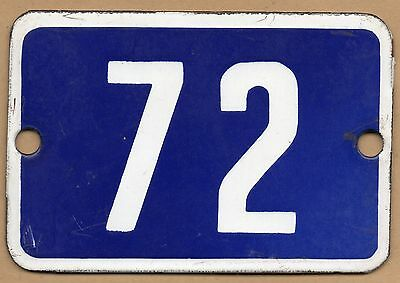 Cute old blue French house number 72 door gate plate plaque enamel metal sign • CAD $61.24