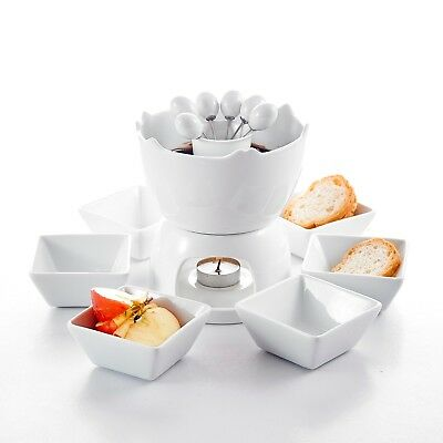 Porcelain Tealight Two-layer Chocolate Fondue Set with Pot 6 Dipping Bowl 6 Fork