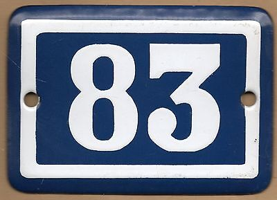 Cute old blue French house number 83 door gate plate plaque enamel steel sign