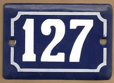 Cute old blue French house number 127 door gate plate plaque enamel steel sign