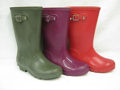 Childrens Plain Wellingtons with Buckle Strap Trim  1167 (Polybagged)
