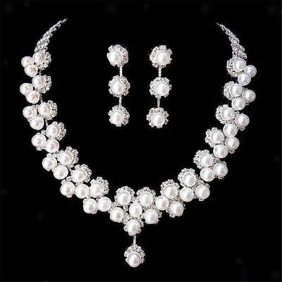 Bride Wedding Prom Jewellry Set Crystal Rhinestone Pearl Necklace & Earrings