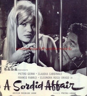1960s MOVIE ADVERT - 7 x 8 inches - Claudia Cardinale in A SORDID AFFAIR