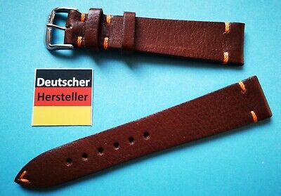 Havanna Vintage Look Uhrband 18,19,20,22mm braun mit orange Naht. weiches Leder
