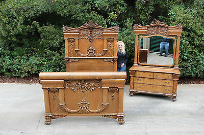 Monumental Karges Powerful American Victorian Tiger Oak Ornate Bed Bedroom Set