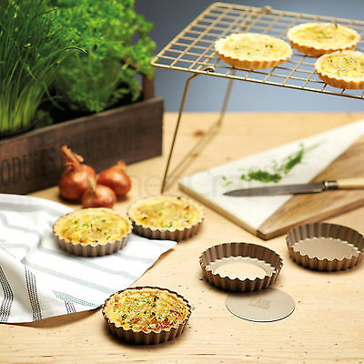 Paul Hollywood Set Of 4 Mini Flan Tins Non Stick Fluted Cake Round Pastry Baking