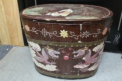 Hand Carved Wood Oriental Asian Chinese Dragon Decorative Box Container Tub