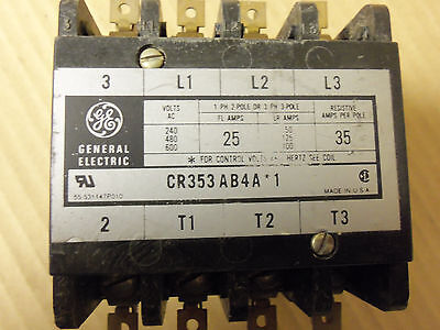 General Electric Magnetic Contactor Cr353Ab4A*1 600V 25 Amp 3 Phase 3 Pole