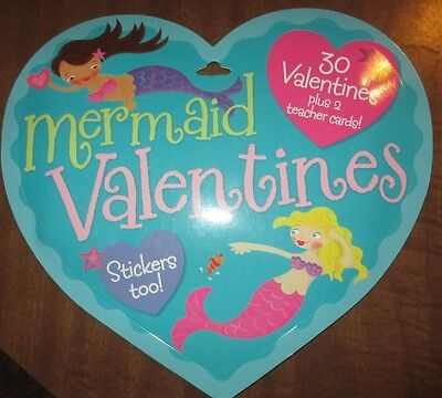 MERMAID 30 Valentines & Stickers, Great for school, play or anytime at all, New