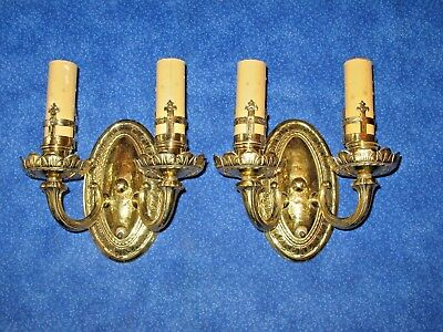 Vintage Pair Solid Brass Wall Sconces Electric 2 Arms Lacquered Ready Mount