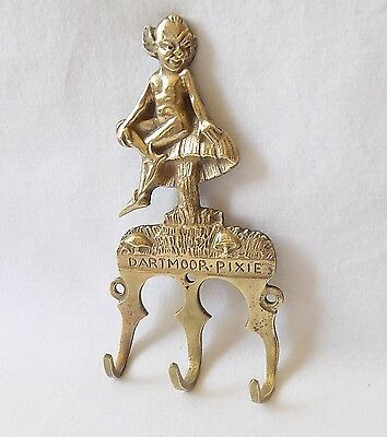 Vintage Finely Cast Brass Dartmoor Pixie Three Hook Hanger.rd No 737564 For 1928