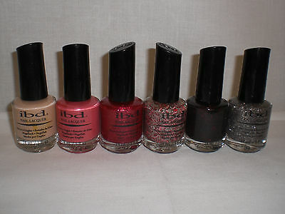 Ibd Nail Lacquer Polish Full Size 5 Oz Mixed Colors Collection Set Lot Of 6
