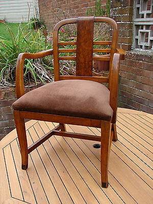 Art Deco Chair Walnut Arm Carver Dining Hall 1920s Global Shipping