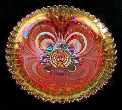 "CARNIVAL GLASS - IMPERIAL Marigold SCROLL EMBOSSED 8¾"" BOWL with FILE Exterior"