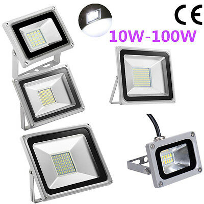 10 20 30 50 100W SMD LED Flood Light Cool White Lamp Outdoor Security Light IP65