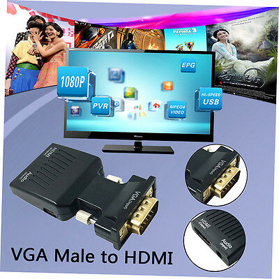 1080P VGA Male to HDMI Female With 3.5mm Audio USB Cable Converter Adapter LKAN