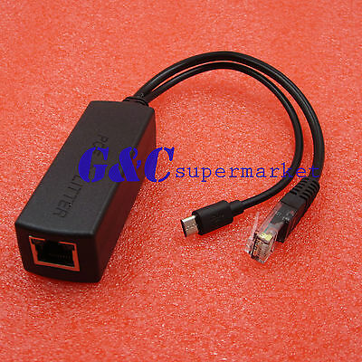 Micro USB Active POE Splitter Power 48V to 5V 2.4A for Raspberry pi 3 Board
