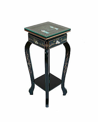 Black Lacquered with Mother of Pearl Table Chinese Oriental Furniture Art Feng