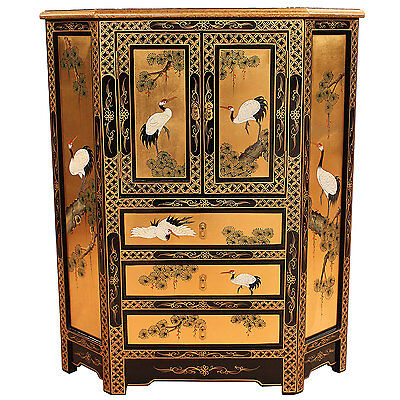Gold Leaf Oriental Chinese Furniture Corner Cabinet With Hand Painted Detail