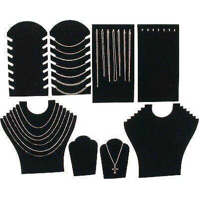Black Velvet Necklace Jewelry Displays 8 Pc Set