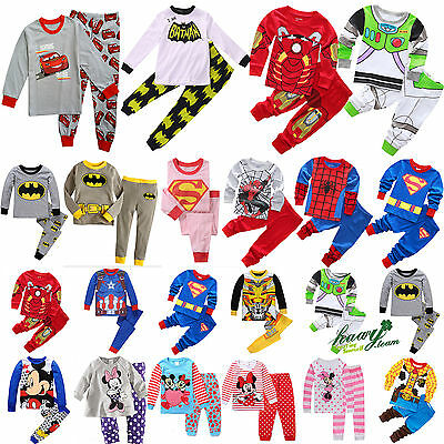 Children Kids Boys Girl Cartoon Sleepwear Baby Cotton Nightwear Pj's Pyjamas Set
