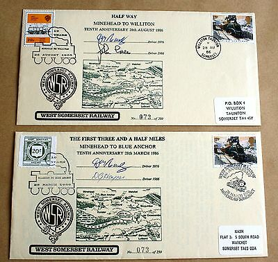 West Somerset Railway 10Th Anniversary 1986 Pair Of Covers