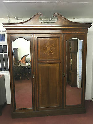 Fantastic Quality Edwardian Inlaid Combination Wardrobe Circa 1900