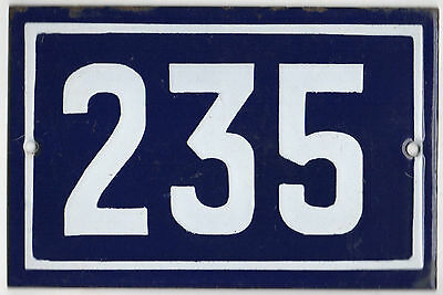 Old blue French house number 235 door gate plate plaque enamel steel metal sign