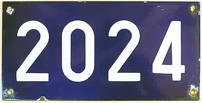 Large old blue French house number 2024 door gate plate plaque enamel steel sign