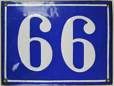 Old big blue French house number 66 99 door gate plaque enamel steel metal sign