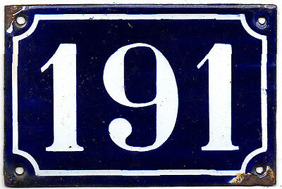 Old blue French house number 191 door gate plate plaque enamel steel sign c1900
