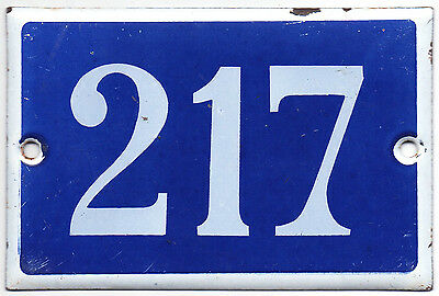 Old blue French house number 217 door gate plate plaque enamel steel metal sign