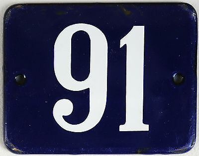 Old blue Danish house number 91 door gate plate plaque enamel steel metal sign