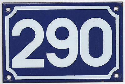 Old blue French house number 290 door gate plate plaque enamel metal sign steel