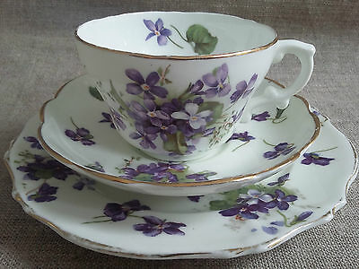Hammersley Victorian Violets Tea TRIO: Tea Cup, Saucer and Tea Plate.