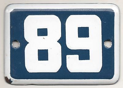Cute old blue French house number 89 door gate plate plaque enamel metal sign
