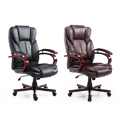 High Back Office Chair Computer Executive Task Adjustable Recliner PU Leather