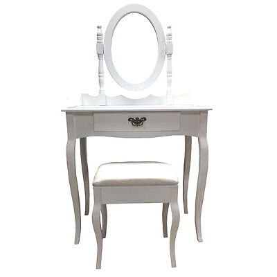 White Dressing Table Set with Stool + Adjustable Mirror - Bedroom Vanity Make Up