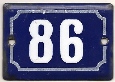 Cute old blue French house number 86 door gate plate plaque enamel metal sign