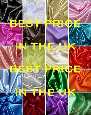 Gorgeous Silky Satin Material Fabric Wedding Prom Brides Dress Crafts 60 Colours