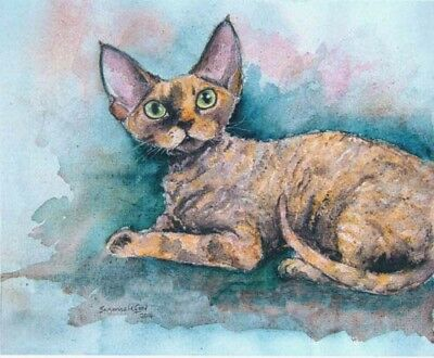 Large Tortie Devon Rex Cat Print From Original Painting By Suzanne Le Good